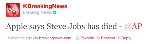 Breaking News Tweet, Steve Jobs has died