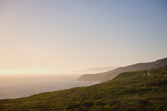 Sunset in California at the Marin Headlands at Rodeo Cove.