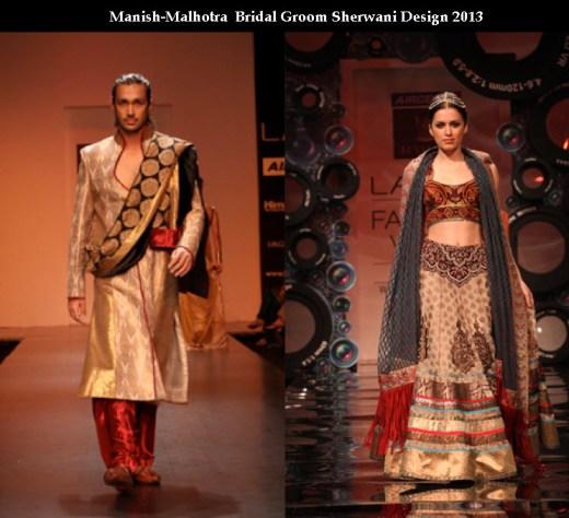 Manish malhotra fashion designer Bridal and groom dress collection picture 2013