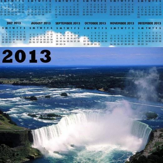 2013-calendar waterfall HD widescreen background wallpaper for desktop pc
