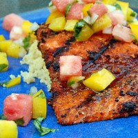 Spice Crusted Salmon with Watermelon Salsa