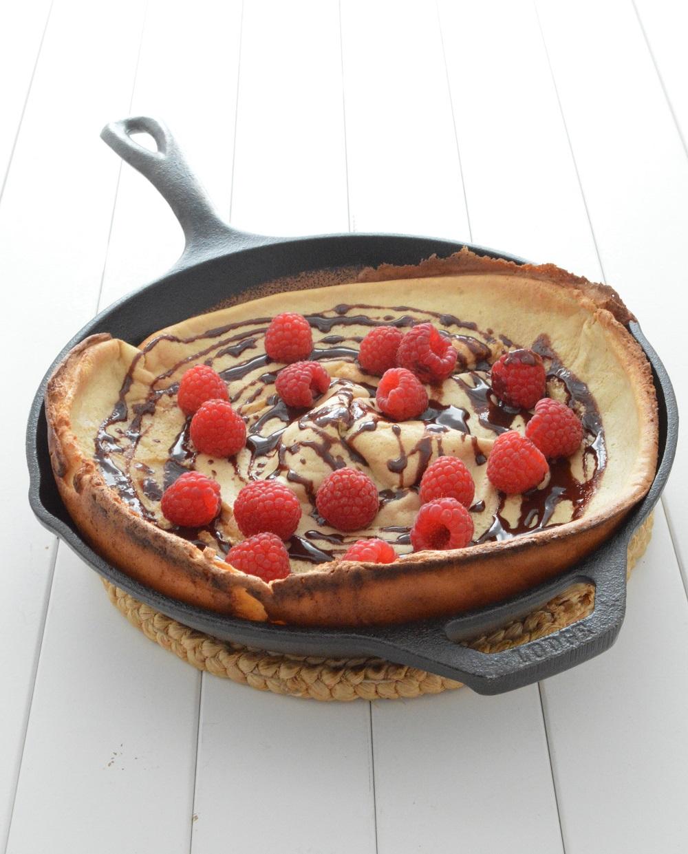 Raspberry Chocolate Dutch Baby - chocolate + connie