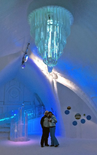 Us in Great Hall in Hôtel de Glace :: A Night of Ice in Québec City :: I've Been Bit! A Travel Blog