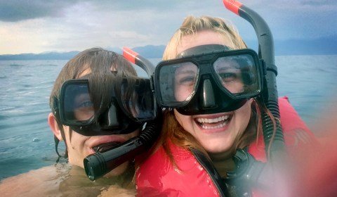 But if you know us even a little, we're not so much the relaxing type. SNORKEL TIME!