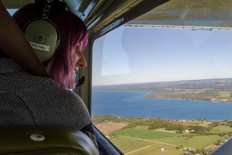 I've Been Bit! A Travel Blog - Grey County Autumn Adventures Owen Sound Flight Services LindzMD in Plane