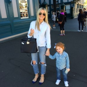 Roxy Jacenko and daughter Pixie in double denim