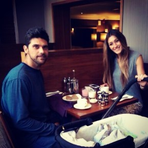 Mark Philipoussis having breakfast with his wife and son