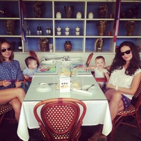 Tammin Sursok and her daughter Phoenix out with some friends