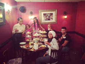 Mel B enjoying high tea with her girls
