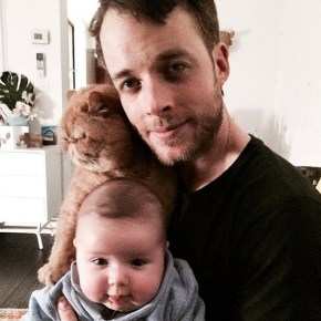 Hamish Blake with his son Sonny and their family cat