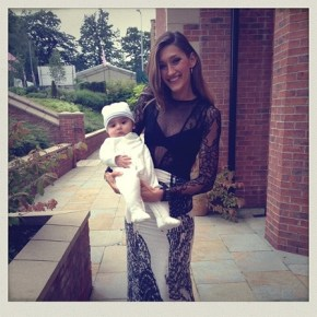 Sivana Lovin, wife of Mark Philippoussis with their adorable son all frocked up