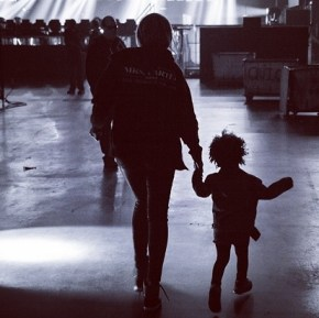 Beyonce with Blue Ivy, 2, during her tour