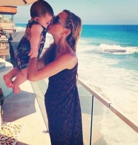 Rachel Zoe beach side with her son Kaius