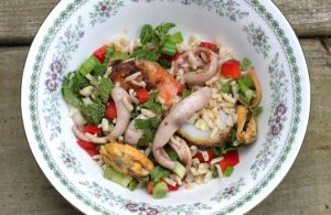 Rice seafood salad