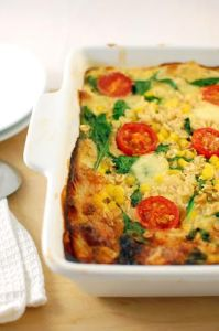 Savoury Baked Oats with Corn, Tomato and Mozzarella