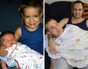 Three brothers recreate their childhood photos.