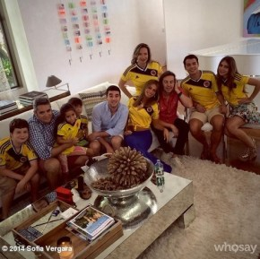 Sofia Vegara supporting Colombia with her family watching the World Cup