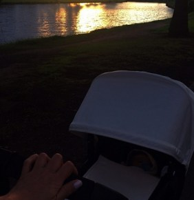 Megan Gale taking River for a late afternoon stroll