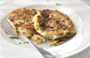 Leek, pea and potato rosti