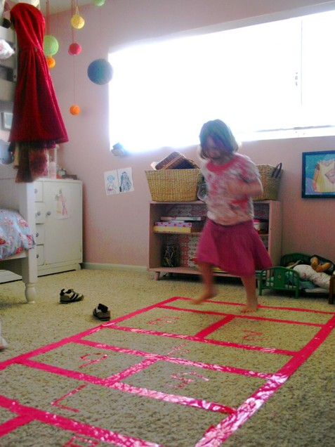 Take the age-old game of hop-scotch inside for a fun, rainy day activity. This version eludes all the downfalls of its outdoor cousin - no waiting in line, and no rain washing it all away.