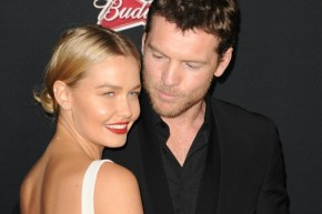 Sam Worthington gives Lara Bingle a very expensive 'push present'.