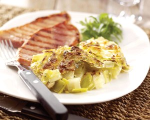 Leek and artichoke dauphinoise with ham hock