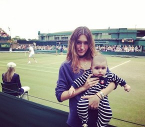 Silvana Lovin and her son watching Mark Philippoussis at Wimbledon