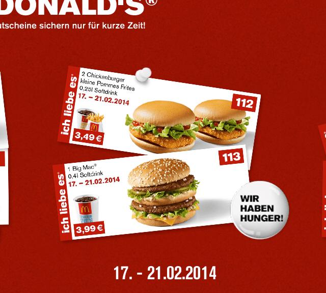 McDonalds App Gutscheine Auswahl