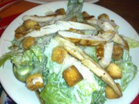 Ceasar salade with chicken- the lettuce was crispy and fresh and the dressing was just right