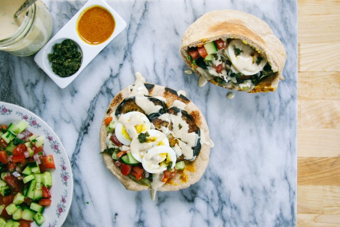 Sabich | Eggplant and Egg Pita Sandwich with Israeli Salad, Pickles, Tahini, Amba, and Schug | I Will Not Eat Oysters