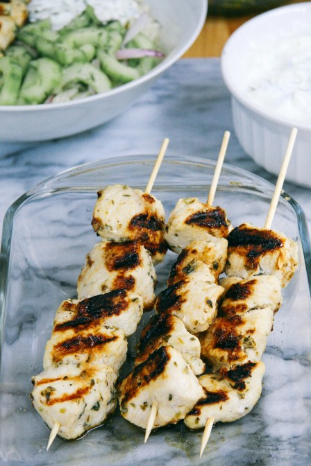 Grilled Chicken Kebab Bowls with Cucumber salad and Tzatziki   I Will Not Eat Oysters