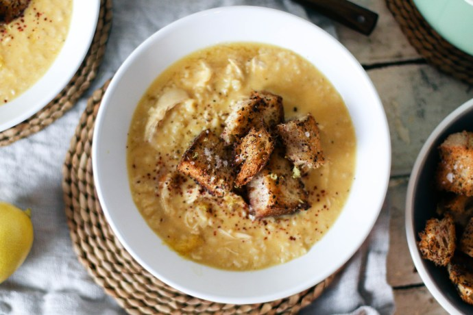 Lemony Chicken & Rice Soup with Sumac Croutons | I Will Not Eat Oysters