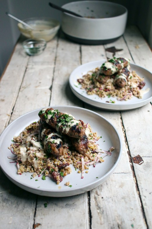 Kofta Kebabs & Freekeh Salad with Tahini Dressing and Dried Cherries| Modern Israeli Cooking| I Will Not Eat Oysters