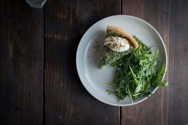 Ejjeh Quiche made with cialntro, mint, and parsley topped with labne & za'atar | I Will Not Eat Oysters