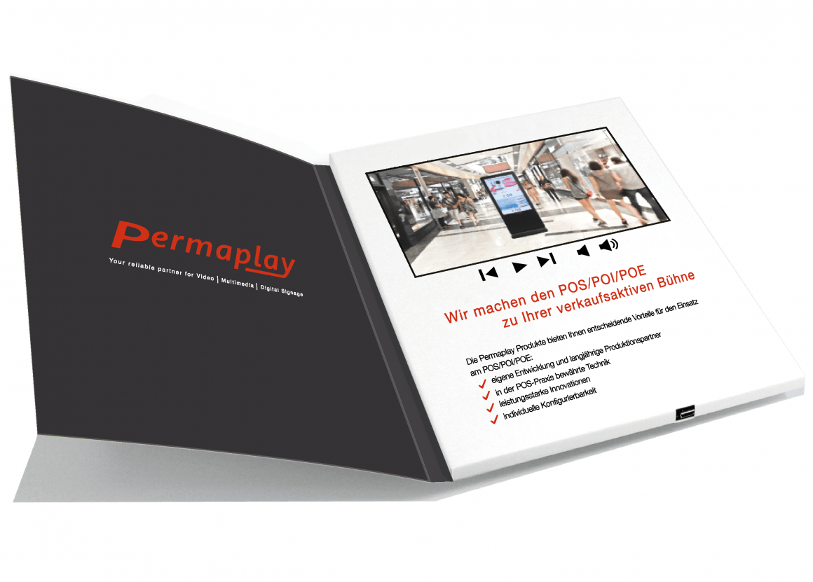 Permaplay Video Brochure and Video Box   iXtenso   Magazine for     Photo  Video Brochure with integrated display  copyright  Permaplay Media