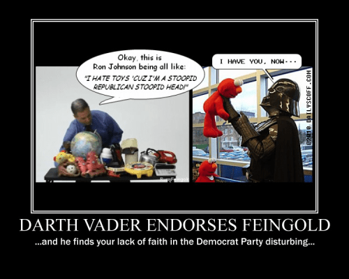 Darth Vader Endorses Russ Feingold c/o the Daily Scoff @ DailyScoff.com