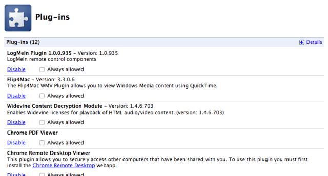 Chrome Plugins List