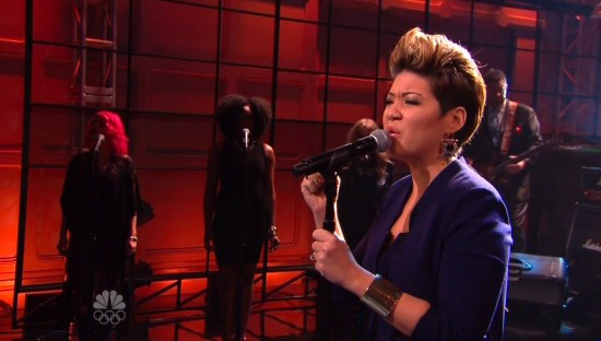 Tessanne Chin performs on Jay Leno