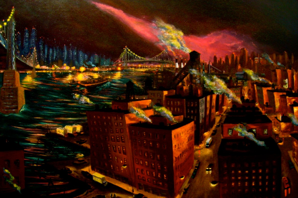 "East River Dawn #2, oil on canvas, 36x48"",1997"