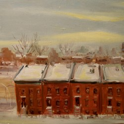 "Washington Ave., Winter, oil on panel, 16x23"", 2006"