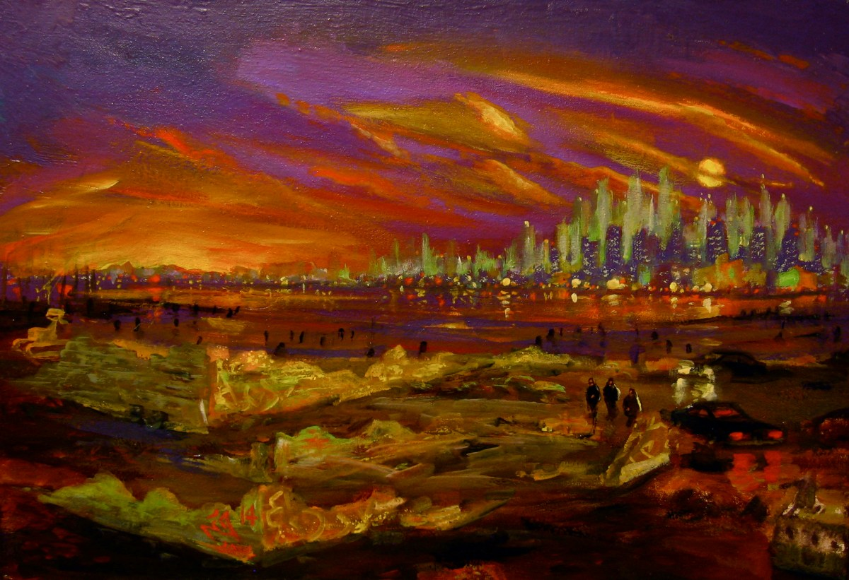 """Meeting by the River, South Brooklyn, 2014, oil on canvas, 15x22"""""""