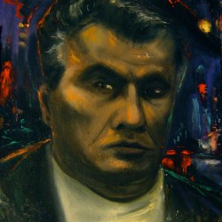 John Gotti, 1989, oil on panel, 16x22""