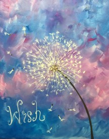 Painting of a Dandelion in seed head form and the word Wish painted on canvas