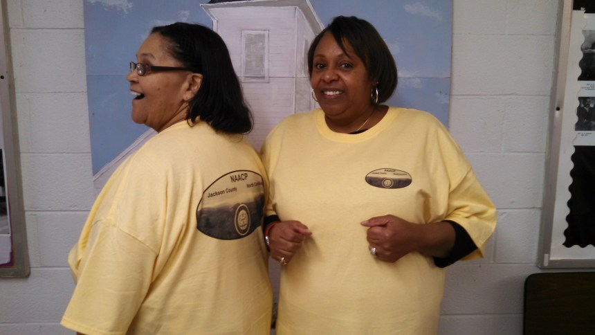 Mary Sue Casey and Joyce Stratton model the new branch t-shirt.