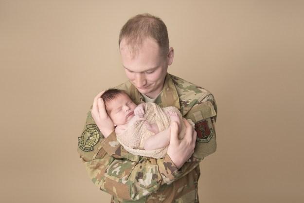 Military Dad & Newborn Baby, Ham Lake Photographer