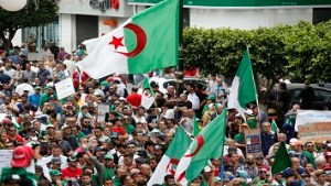 Algerian demonstrators shout slogans during an anti-government demonstration in the capital, Algiers, on May 24, 2019. (Photo by Billal Bensalem/NurPhoto via Getty Images)