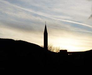 sunset in mostar, bosnia and herzegovina