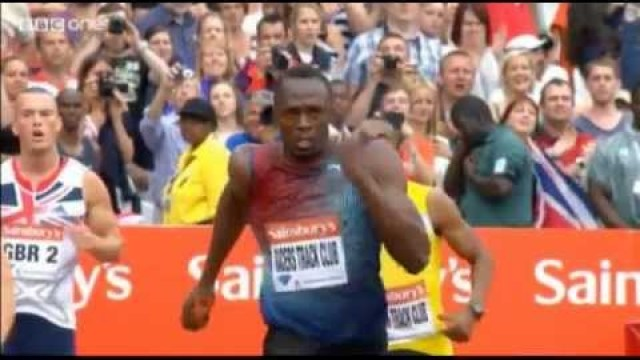 Usain Bolt Blazing Anchor leg Racers Track Club wins 4x100m in 37.75 London DL 2013