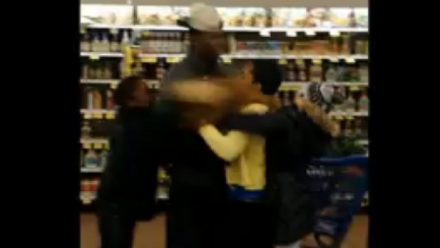 Mother and Son Fight Inside Supermarket
