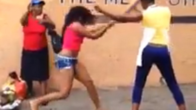 Jamaican Girls Fight By The Meat Shop